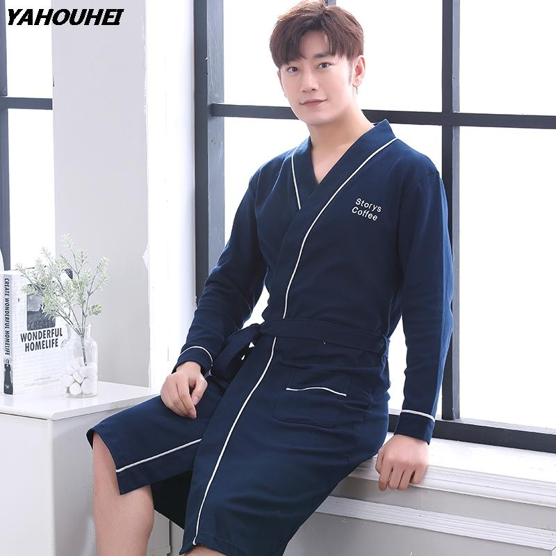 1fc12cfccd 2018 Autumn Winter 100% Cotton Robe For Men Long Sleeve Bathrobe Male  Comfortable Casual Sleepwear Lounge Homewear Home Clothing UK 2019 From  Victoriata