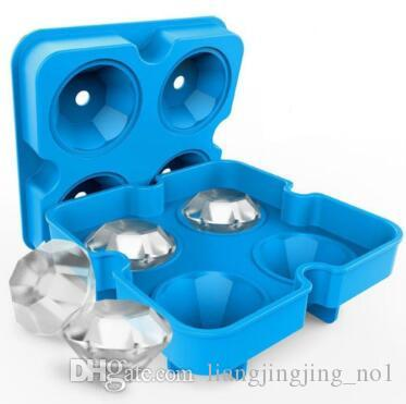 3D Silicone Diamond Ice Cube Mold Whiskey Wine Cocktail Ice Cube Tray Maker  Kitchen DIY Cake Candy Ice Cream Mould Tool CCA9442 50pcs