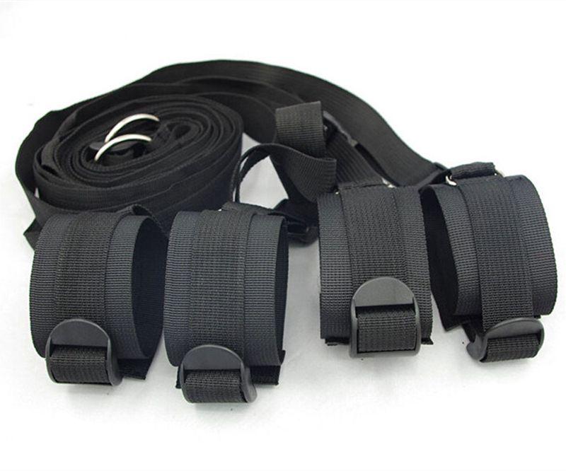침대 구속 시스템 즐거움 침대 속박 수갑 다리 커프스 BDSM 슬레이브 Femdom 손목 발목 구속 벨트 성인 섹스 토이