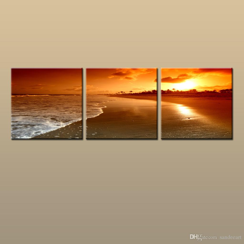 Framed/Unframed Hot Modern Contemporary Canvas Wall Art Print Painting Beach Sunset Seascape Picture 3 piece Living Room Home Decor ABC250