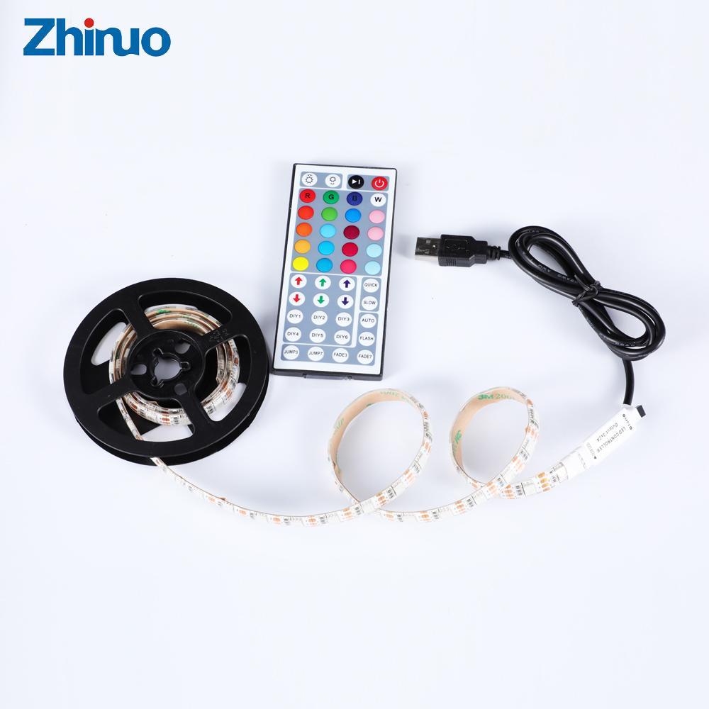 ZHINUO USB 5V RGB LED Strip light Ribbon SMD 5050 Tape Backlight Lamp For  Cabinet 5 V Leds 5 volts With 44 Key Remote Control