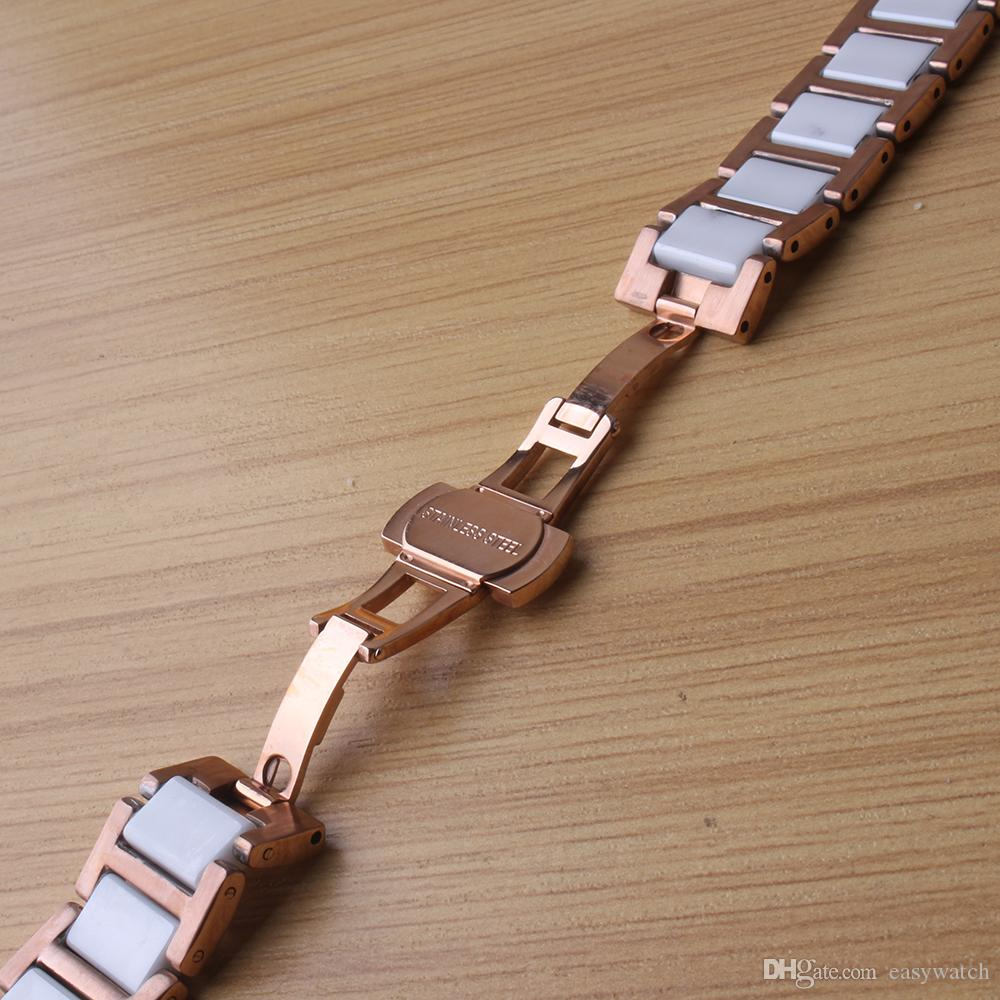 High Quality 14mm 16mm 18mm 20mm 22mm Watchband rose gold stainless steel wrap ceramic white for quartz watches Bracelets men womens bands