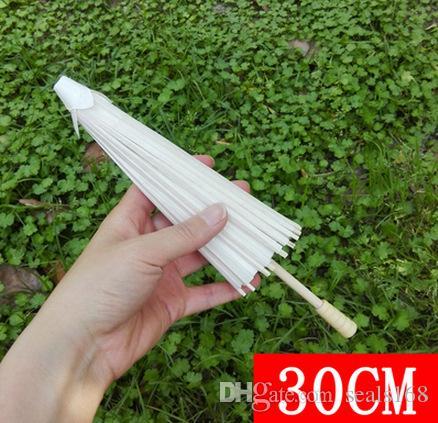 Brauthochzeits-Papier-Regenschirme Sonnenschirme Handgemachte Plain chinesischer Mini Craft-Regenschirm für hängende Verzierungen Durchmesser: 20-30-40-60cm HH7-993