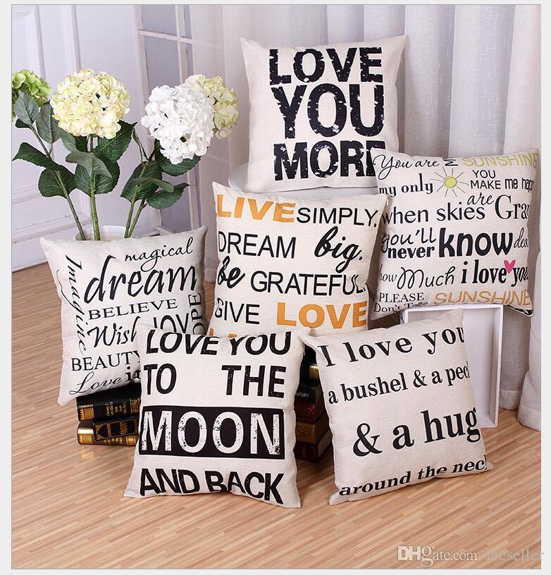 Moderner Minimalistischer Stil Englischer Brief Kissenbezug Interessanter Satz Baumwolle Leinen Friedensfreude Liebe Kissenbezug Fur Heim Sofa