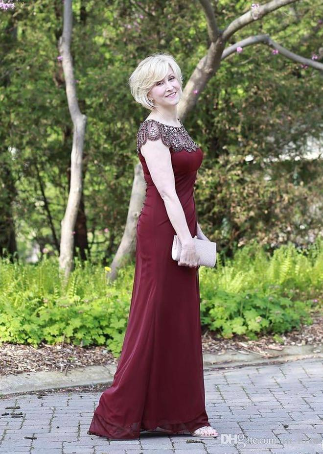 fbd9264c42 Burgundy Mother Of The Bride Dress Crystals Beadings Neck Cap Sleeve  Chiffon Floor Length Wedding Guest Dress Ladies Evening Gowns Plus Size  Mother Of The ...