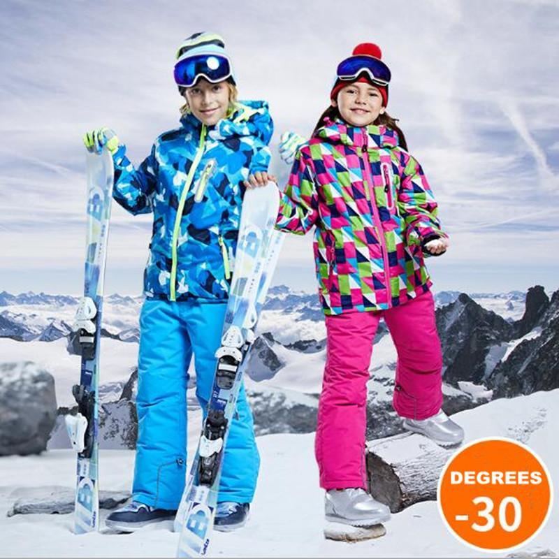 e296fd4ef0a32 Compre Niños Niños Ropa De Nieve Niños Traje De Esquí Chaqueta De Esquí  Pantalones Pantalón De Snowboard Al Aire Libre Traje De Snowboard  Pantalones A ...