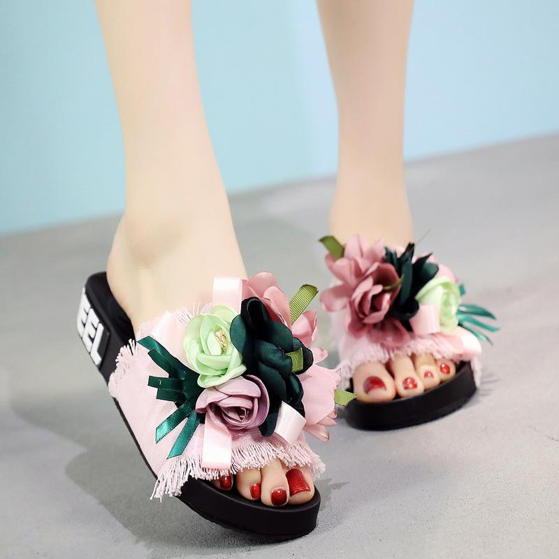 512f34fa90ba 2018 Women S Sandals And Slippers New Summer Shoes Denim Flip Flops  Handmade Flower Flow To Be Flat With Beach Shoes Wedding Shoes Wedges From  Ye1993