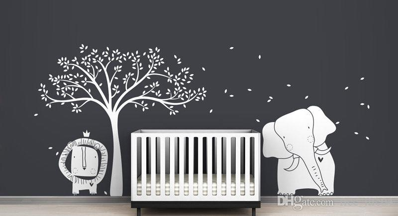 baby lion elephant and tree wall sticker mural modern baby zoo wall