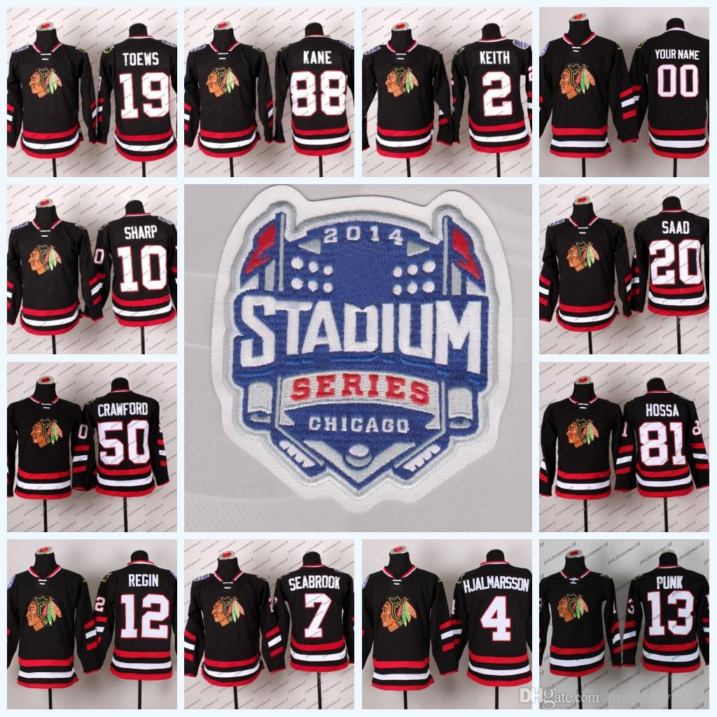 771bdf7b7 2014 Stadium Series Chicago Blackhawks 19 Jonathan Toews 81 Marian Hossa 88  Patrick Kane 50 Corey Crawford Hockey Jerseys UK 2019 From Projerseyworld