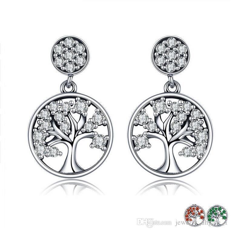 c8f0bc264 Genuine 100% 925 Sterling Silver Tree of Life ,AAA Zircon Drop Earrings for  Women Sterling Silver Jewelry Brincos Jewelry Sterling Silver Jewelry  Earrings ...