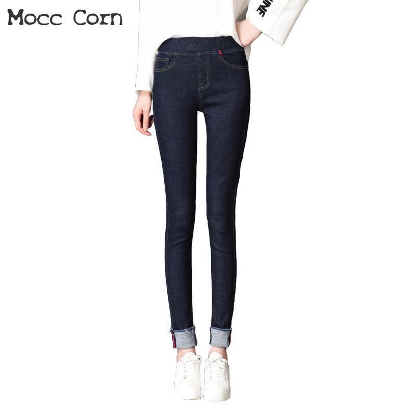 88b0658bed4ad Mocc Corn Plus Size Elastic Waist Pencil Jeans Skinny Women Blue ...