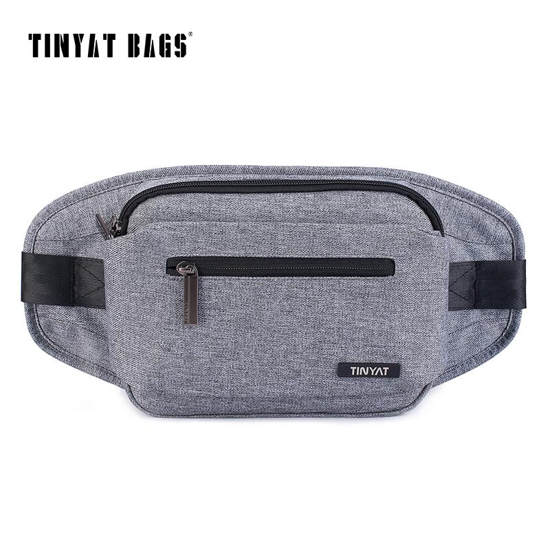 TINYAT Brand Man's Casual Canvas Chest Bag Pack Large Functional Messenger Bag Style Male Crossbody Key Phone Belt t250