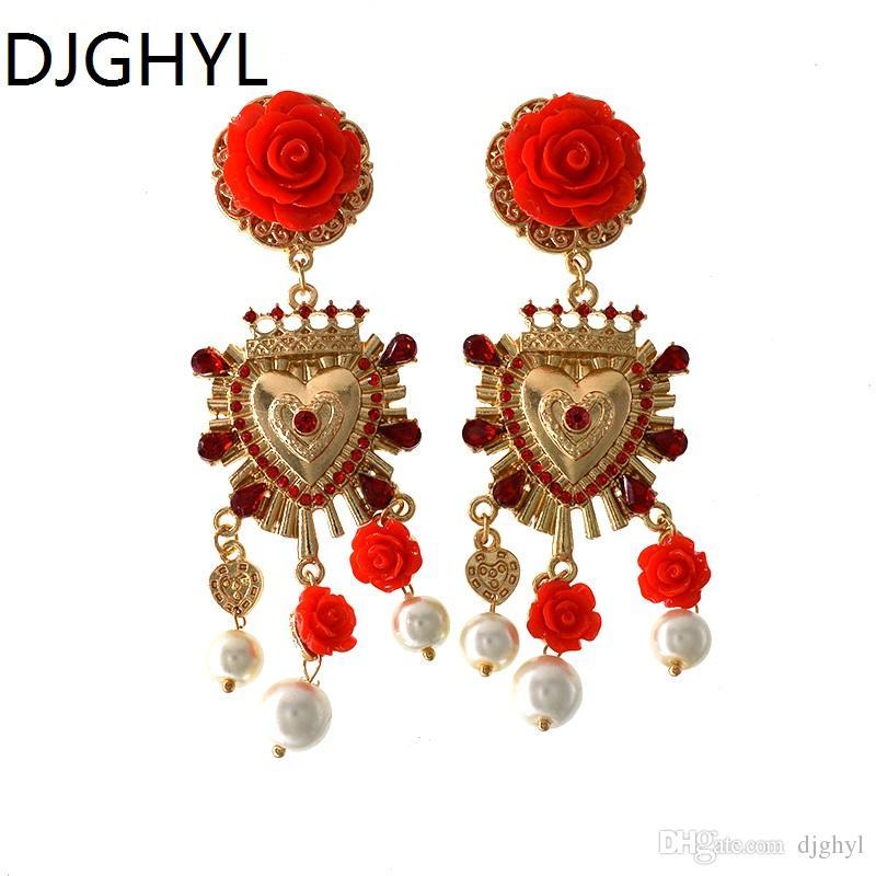 Orecchini di strass le donne di colore oro nuovo di zecca le donne Orecchini a goccia a forma di cuore rosa rossa a forma di cuore regalo di San Valentino