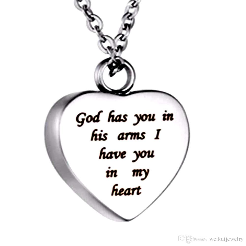 """heart """"God have you in his arms I have you in my heart"""" Cremation Urn Necklace Stainless Steel Ashes Keepsake and Free fill kit"""