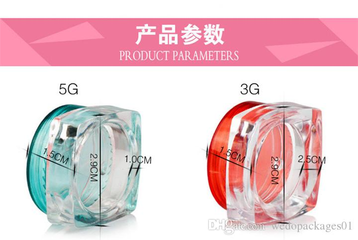 3g 5g plastic pot clear square base bottle with colorful round glossy lid, portable travel PS plastic mask paper container jar