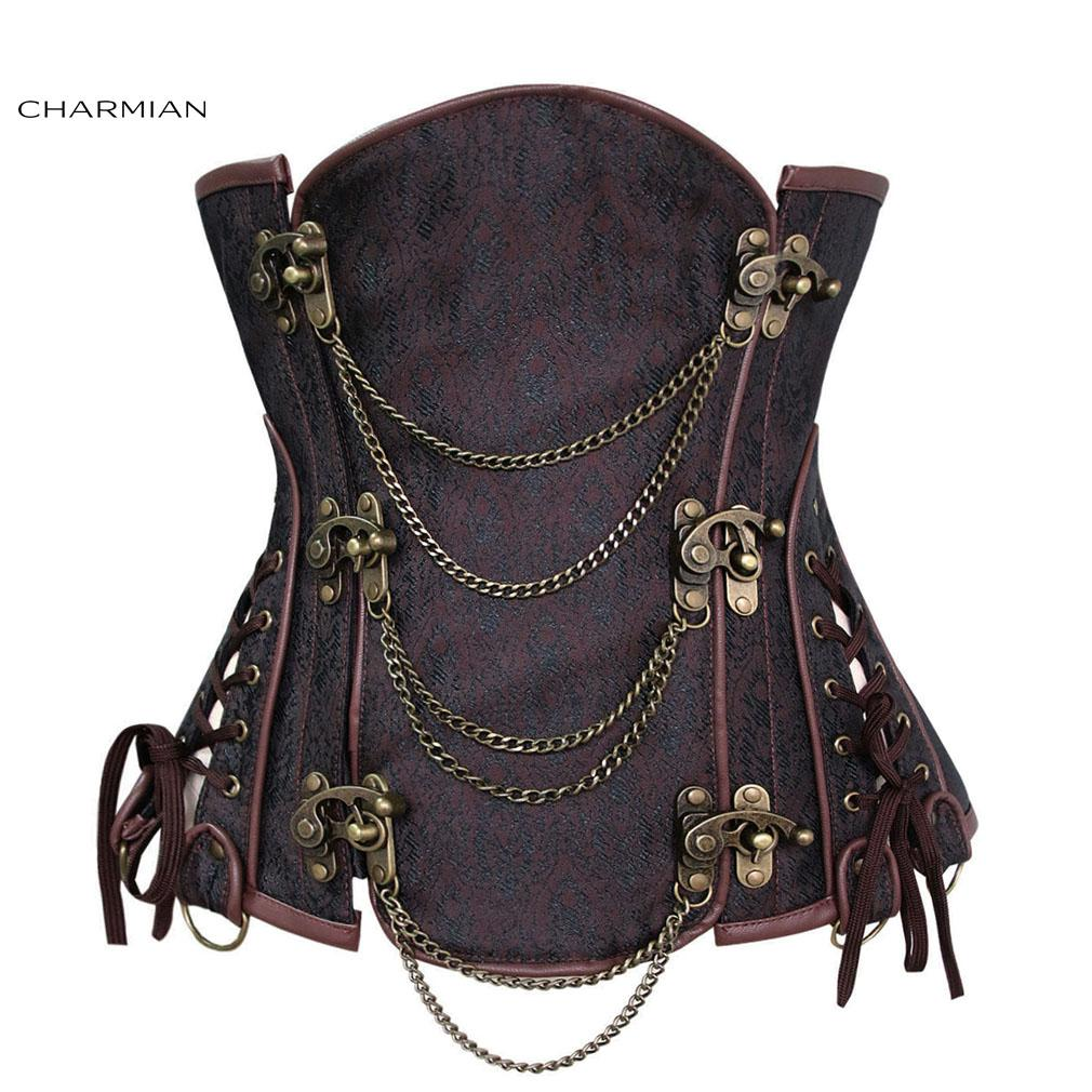 54de6865c71 2019 Women    S Vintage Gothic Steampunk Corset Sexy Brocade Steel Boned  Underbust Corset Bustier With Chains Waist Cincher From Xmykcsm