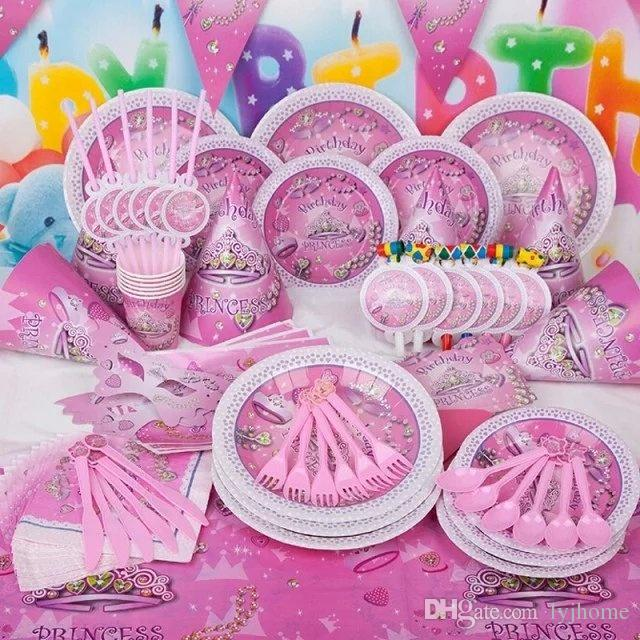 Princess Theme Pink Disposable Tableware Birthday Party Decorations Children Event Supplies Kids Crown Pattern