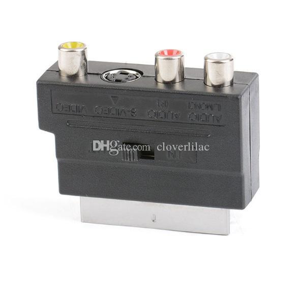 Buona qualità / Lotto Standard 21pin Scart Plug to Composite RCA S-Video AV TV Audio Adapter