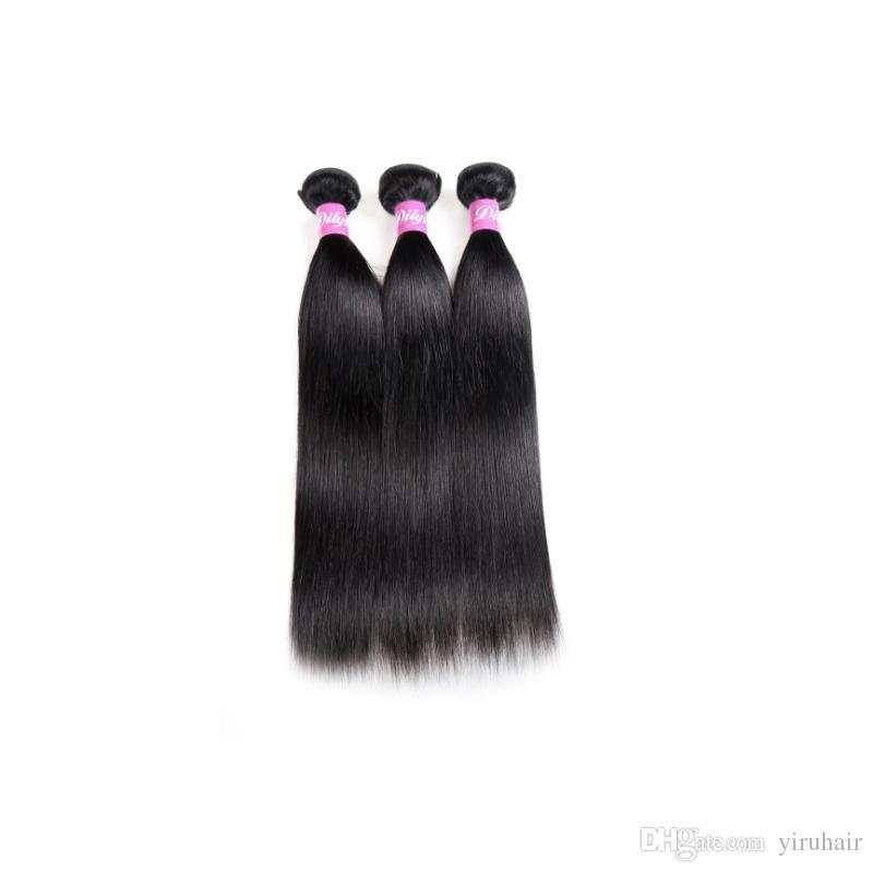 Brezilyalı Virgin İnsan Saç 3 Paketler 30-40 inç Uzun İnç Düz Saç Uzantıları Çift Atkı 95-100g / parça Paketler