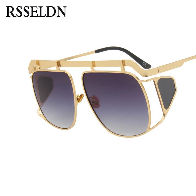 f97f61ebd Compre RSSELDN Oversized Óculos De Sol Das Mulheres De Metal Quadrado Big  Frame Side Shields Óculos De Sol Masculino Feminino Do Vintage Shades Gafas  De Sol ...