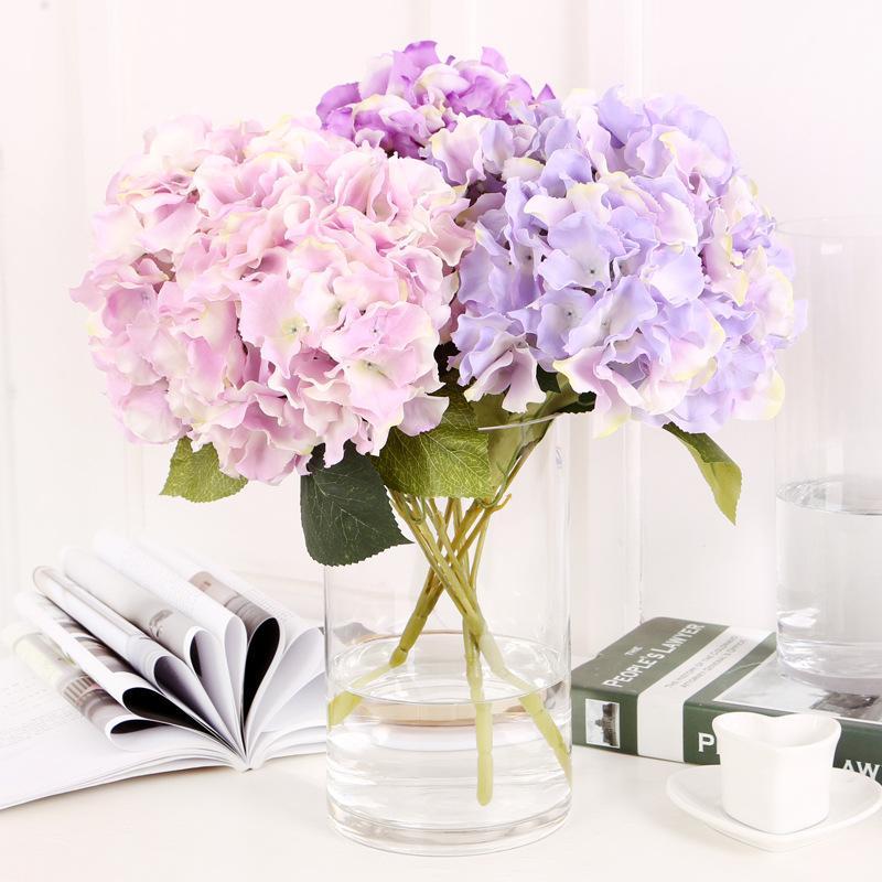 2018 5 Heads Silk Hydrangea Artificial Flower Bouquet Real Touch ...