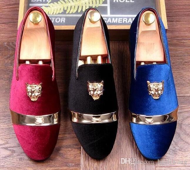 new product a739e 3e837 Großhandel Top-Qualität Qualität Velours Casual Schuhe, Mode schwarz blau  rot Schuhe Männer Kleid Party Hochzeit Schuhe 37 48 h8