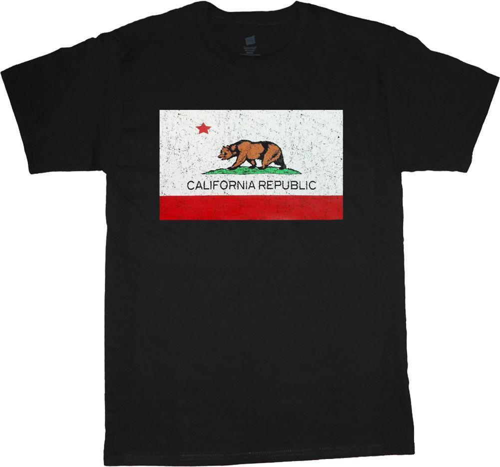 Big and tall shirts for men California flag decal tee shirt cali bear design