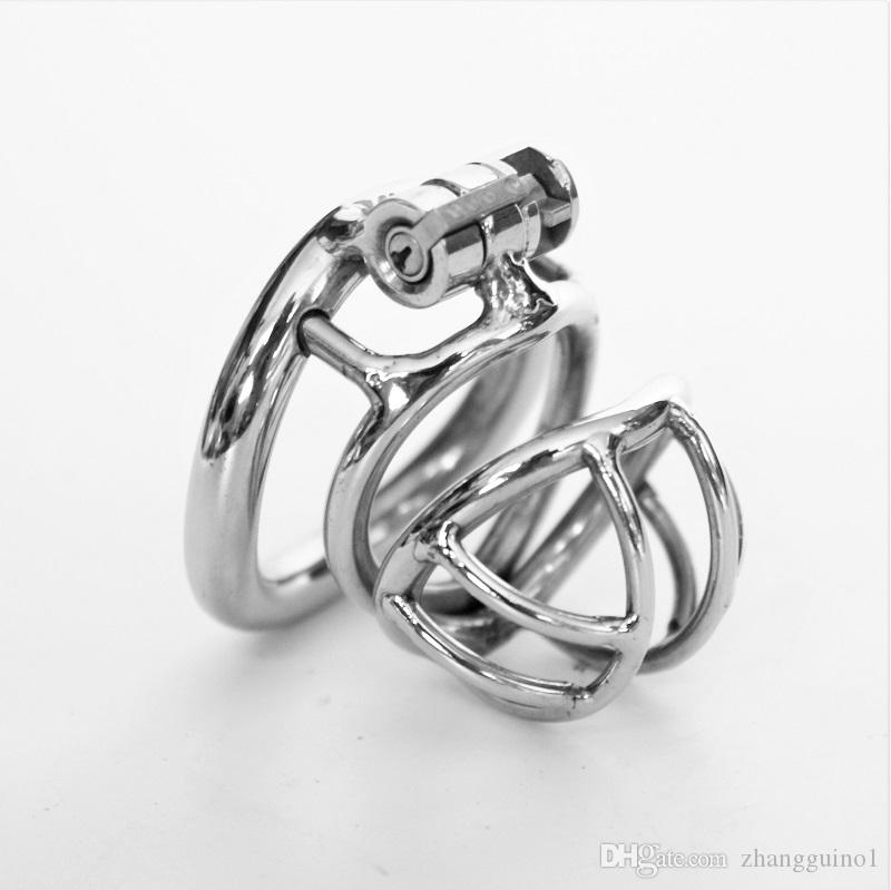 2018 New Male Chastity Devices Metal Mens Small Cock Cage Stainless Steel Penis Restraints Locking Cock Ring BDSM Bondage