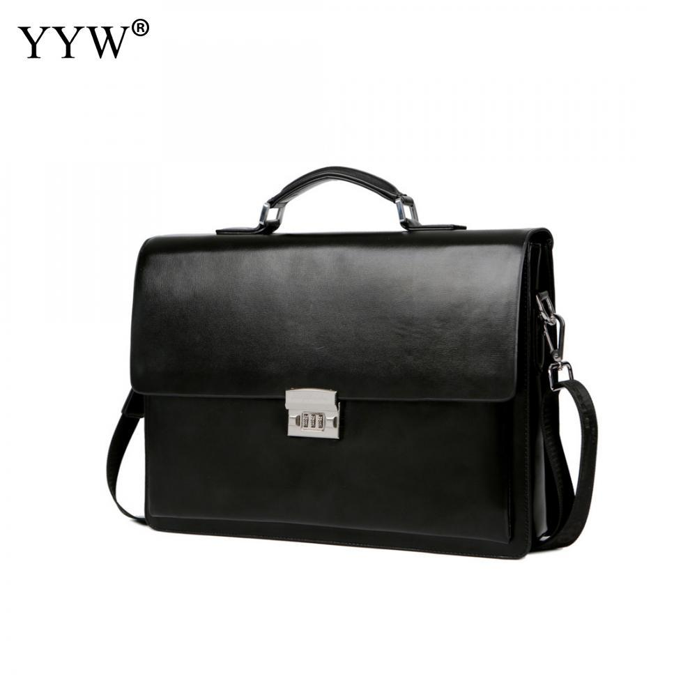582c4771459 Men's Executive Briefcase Business Male Bag Black Portfolio Tote Bags for  Men A Case for Documents Classic PU Leather Handbag