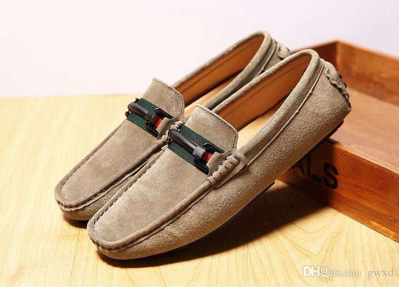 New 2018 style High Quality Genuine Leather Men Loafers Men's Slip On 3 colour Styles Driving Shoes Men Moccasin Gommino Boat Shoes G318