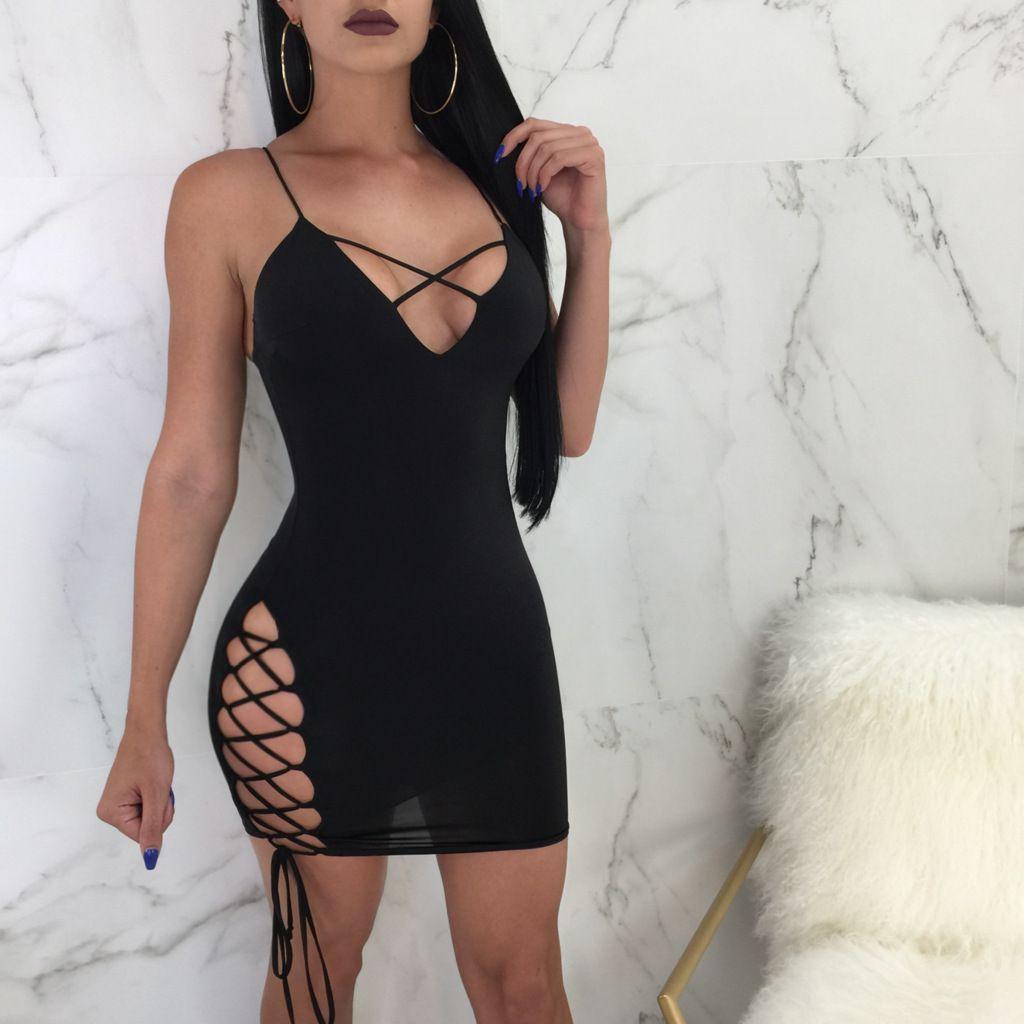 Großhandel Frauen Nacht Party Bodycon Kleid Sexy Spaghetti Strap ...