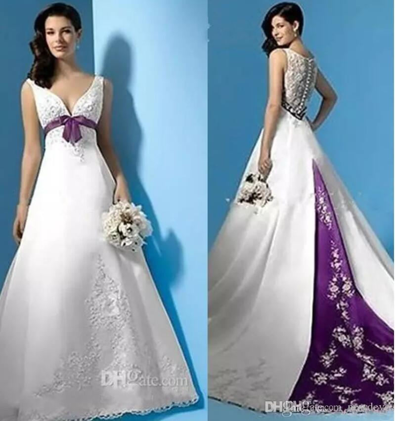 Discount Plus Size White And Purple Wedding Dresses Empire