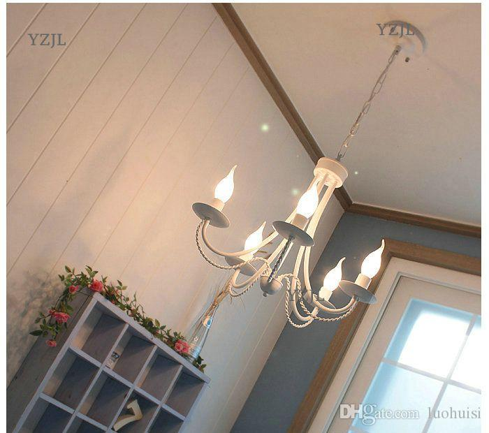 American iron lamp Mediterranean chandeliers Korean rural restaurant candle lamp chandelier simple modern children bedroom light