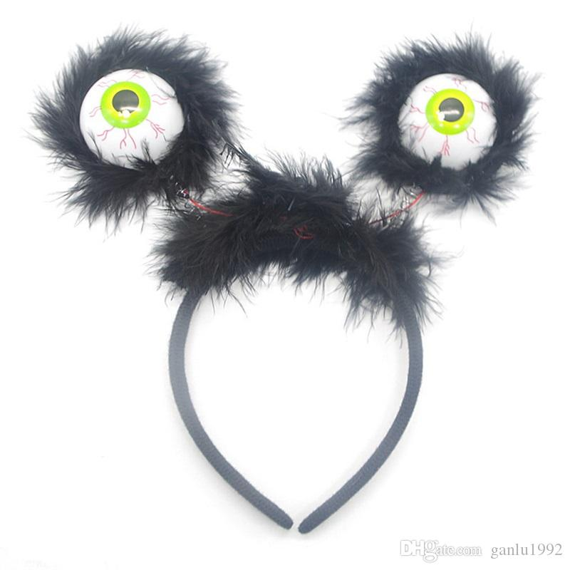 Children Gag Hair Band Luminescence Eyeball Prop Tricky Horrible Head Hoop Flash Of Light Novelty Hairpin Toys 2 95zp W