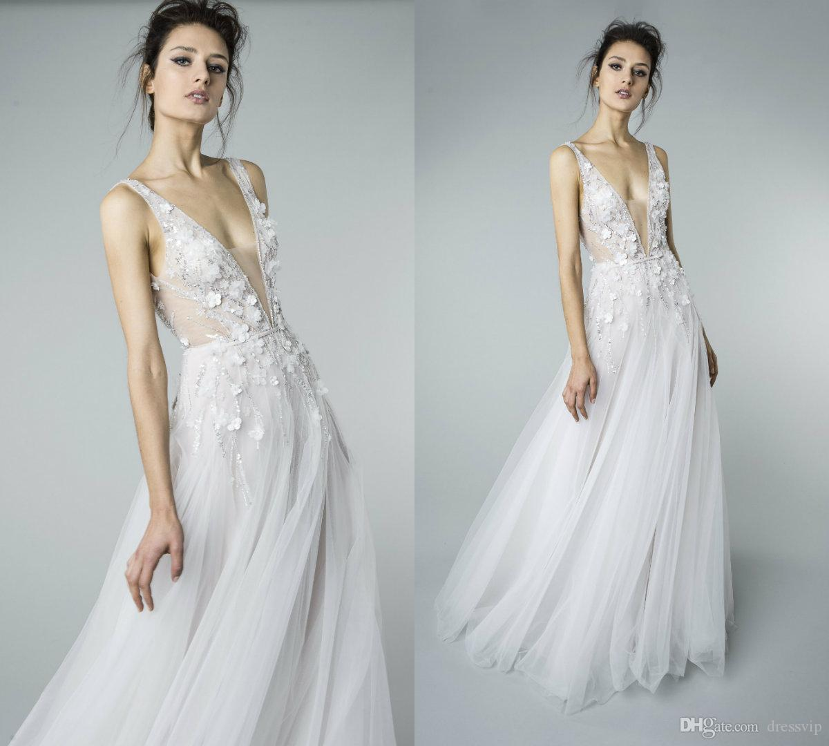 39937c5e78f Discount 2018 Mira Zwillinger Boho Wedding Dresses 3D Floral Applique  Beaded Sequins Deep V Neck A Line Beach Bridal Dress Floor Length Wedding  Gown Vintage ...