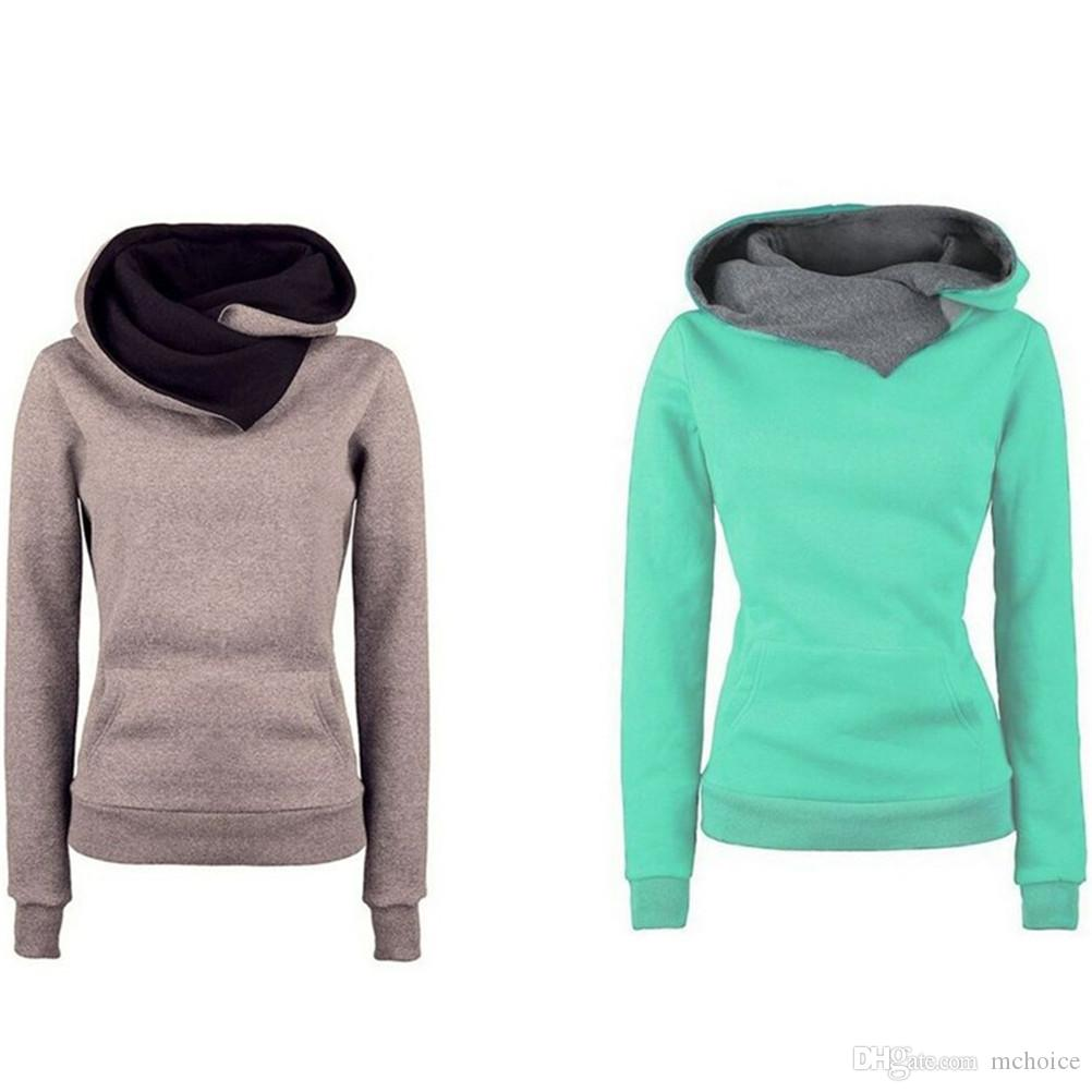 c2d343af2ea 2019 Mchoice Women Hoodies Pullover Solid Sweatshirt Long Sleeve Patchwork  Winter Lady Pocket Jacket Coat Jumper Tops Women Clothes Apperal From  Mchoice