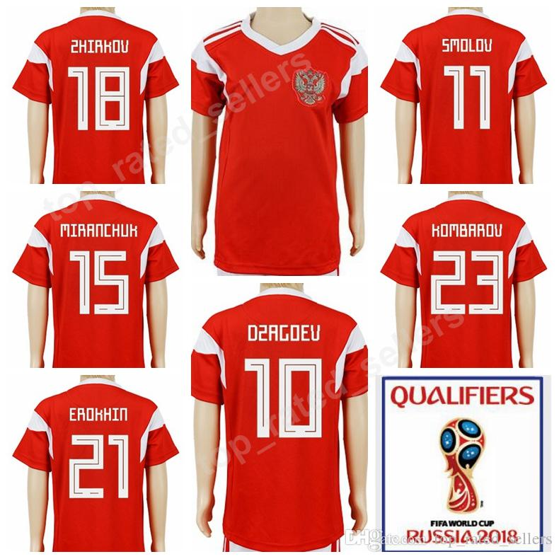 9c3cd5ee2 Russia Children Soccer Jerseys Youth 2018 World Cup 9 KOKORIN ...