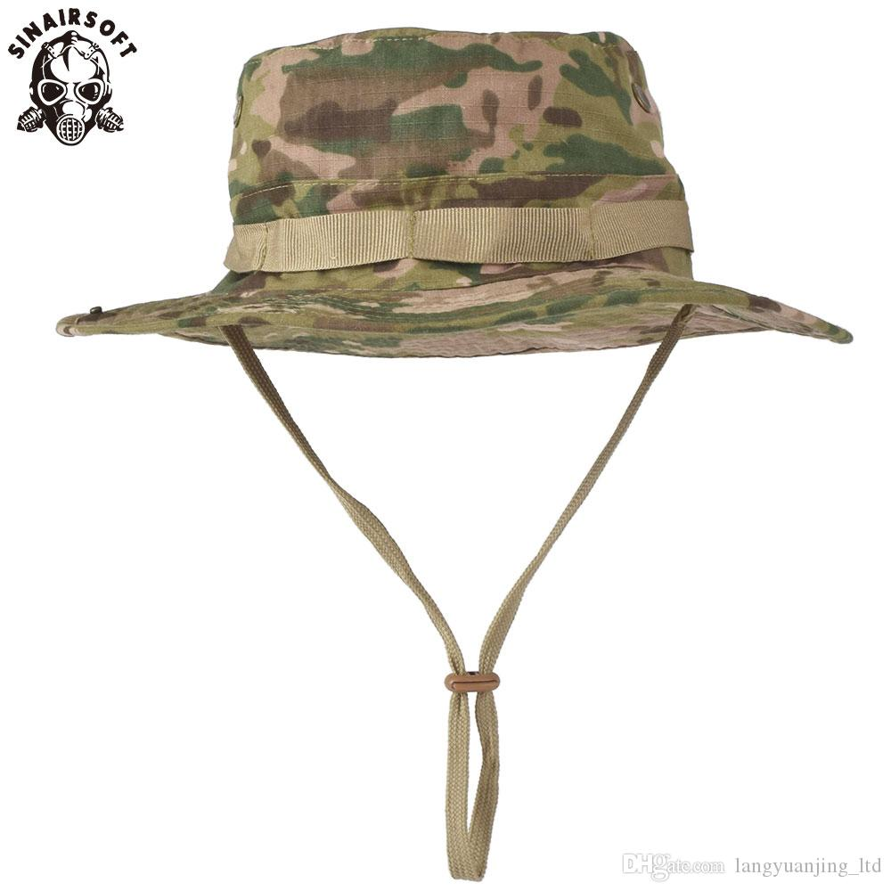a306fc43fec 2019 SINAIRSOFT Tactical Airsoft Sniper Camouflage Boonie Hats Nepalese Cap  Mens American Bucket Wide Brin Sun Hat Cowboy Caps For Hiking Fishing From  ...