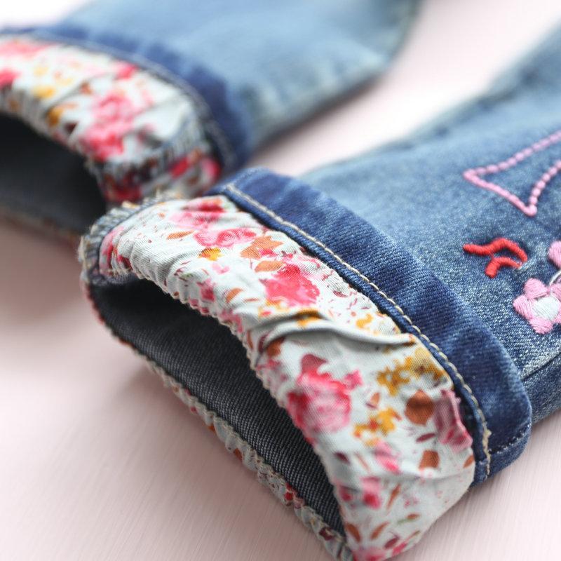 Enfants filles hiver jeans bébé denim bleu bande dessinée motif lapin polaire épais pantalon enfants chaud pantalon casual fille vêtements
