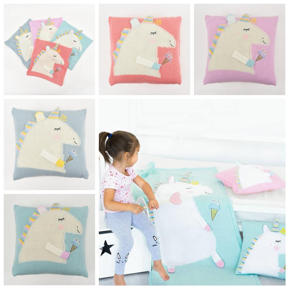 4styles Unicorn Baby Knitted Cushion Covers Childrens Sofa