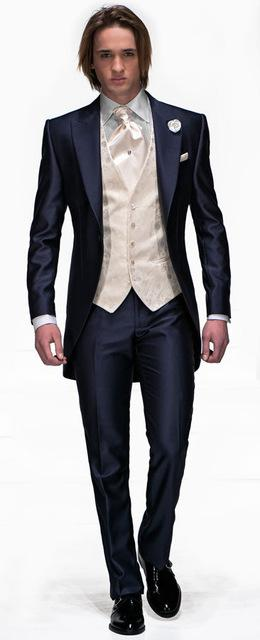 2019 Slim Fit Men Suits Sets 2017 Tailored Shinny Navy Blue Groomsmen  Wedding Party Dress Suits Long Blazer Jacket+Pants+Tie+Vest From Marryone 06f37d403eab
