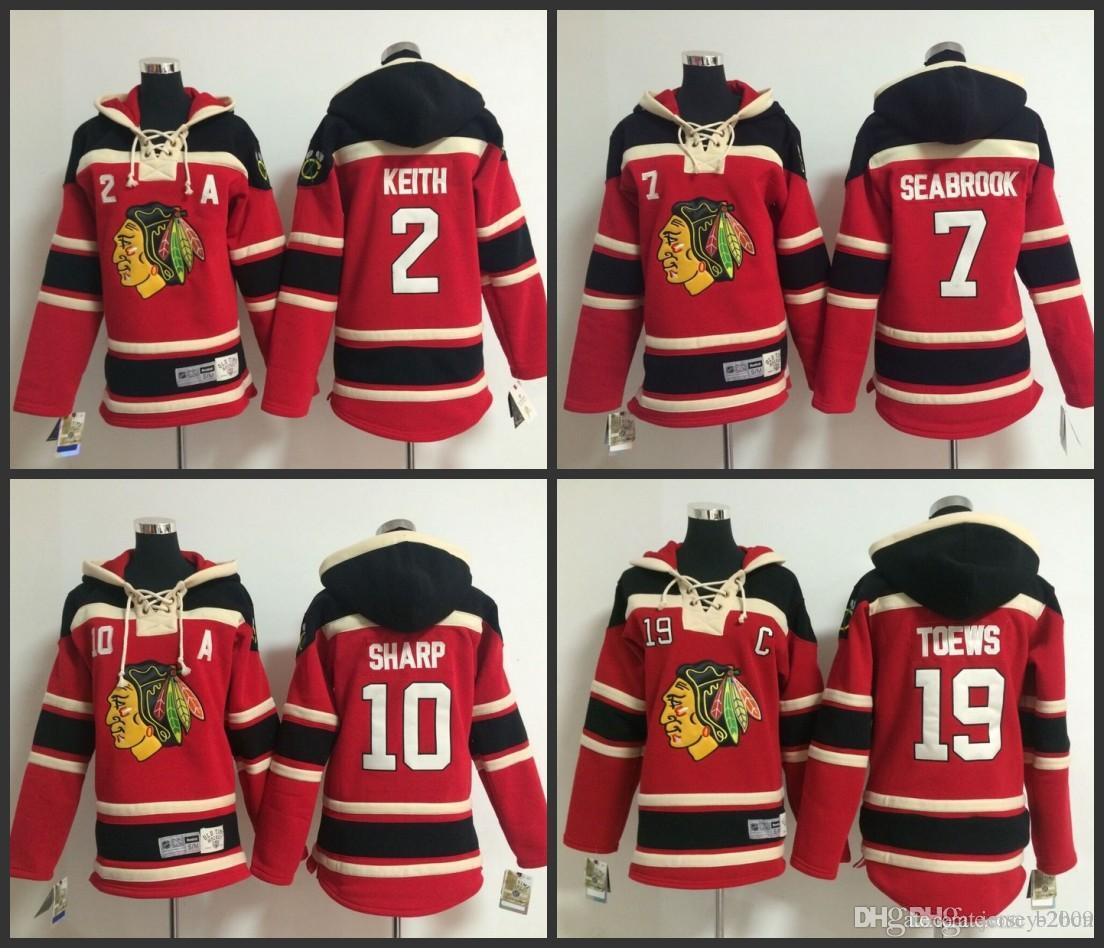 492626ad1ef 2019 Youth Chicago Blackhawks Hooded Jersey 19 Jonathan Toews 2 Duncan Keith  10 Patrick Sharp 7 Brent Seabrook Kids Ice Hockey Hoodie Size S XL From  Jersey ...