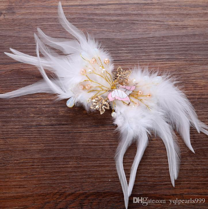 Bride handmade feather butterfly headgear, white hand hairpin wedding dress accessories accessories