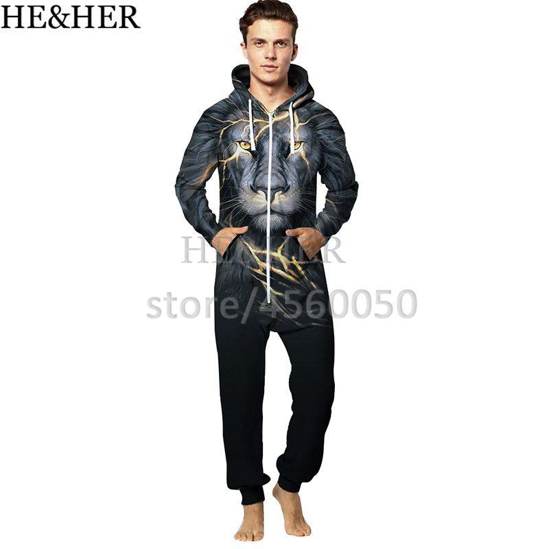 06bf8e230ae241 2019 Men Fashion 3D Printing Sleepwear Jumpsiut Funny Animal Wolf Lion Fox  Printing Casual Home Clothes Pyjama Hooded Cute Jumpsiuts From Garters