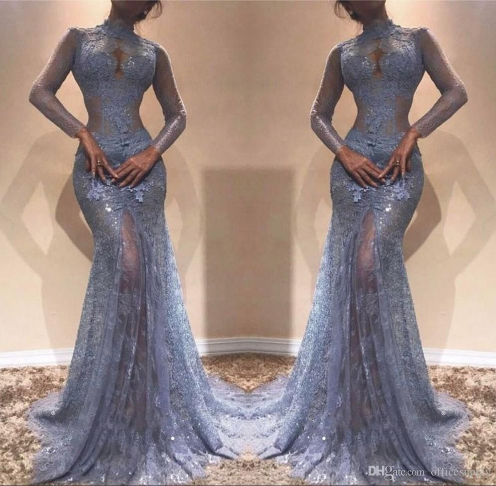 Illusion See Through Lace Evening Gowns 2018 Mermaid High Neck Sheer ...