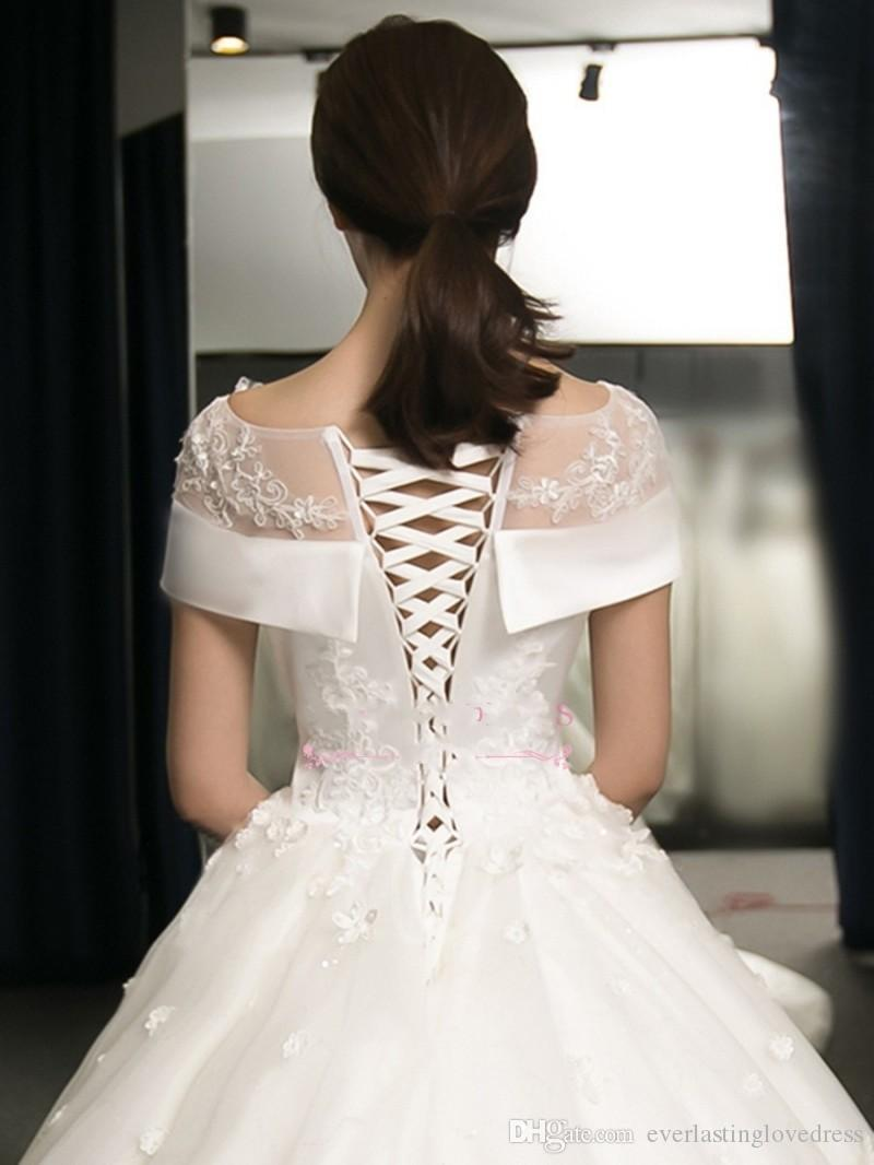 Satin Online Spitze Appliqued Ballkleid Brautkleider mit Blumen Applikationen abanicos para boda al por mayor