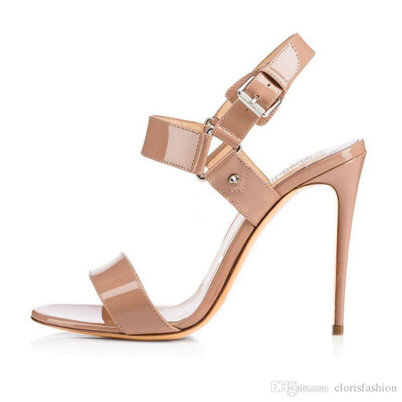 0c6f43c3d22 Summer Simple Fashion Sexy Thin High Heel Buckle Strap Solid Patent Leather Ladies  Shoes Four Color Women Sandals Normal Size Formal Shoes Cheap Shoes For ...
