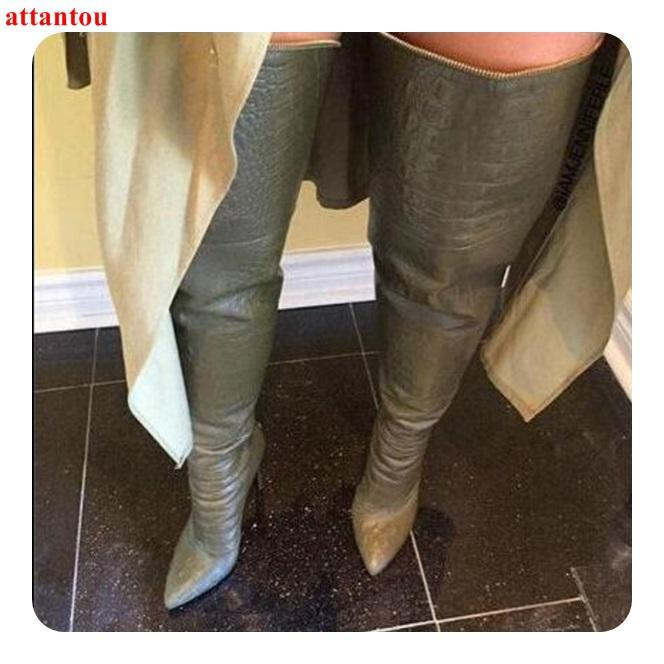 ef33873331 Compre Nueva Llegada De Cuero Botas Largas Cremallera Mujer Botas Sobre La  Rodilla Punta Estrecha Tacón Fino Otoño Invierno Moda Zapatos Femeninos A   146.96 ...