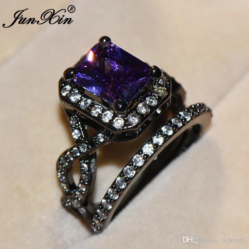 3c82cb0d8bec Compre JUNXIN Mujer De Lujo Gran Anillo De Dedo Púrpura Negro Oro Lleno De  Joyas Vintage Anillo De Bodas Conjunto Anillos De Promesa Para Las Mujeres  A ...