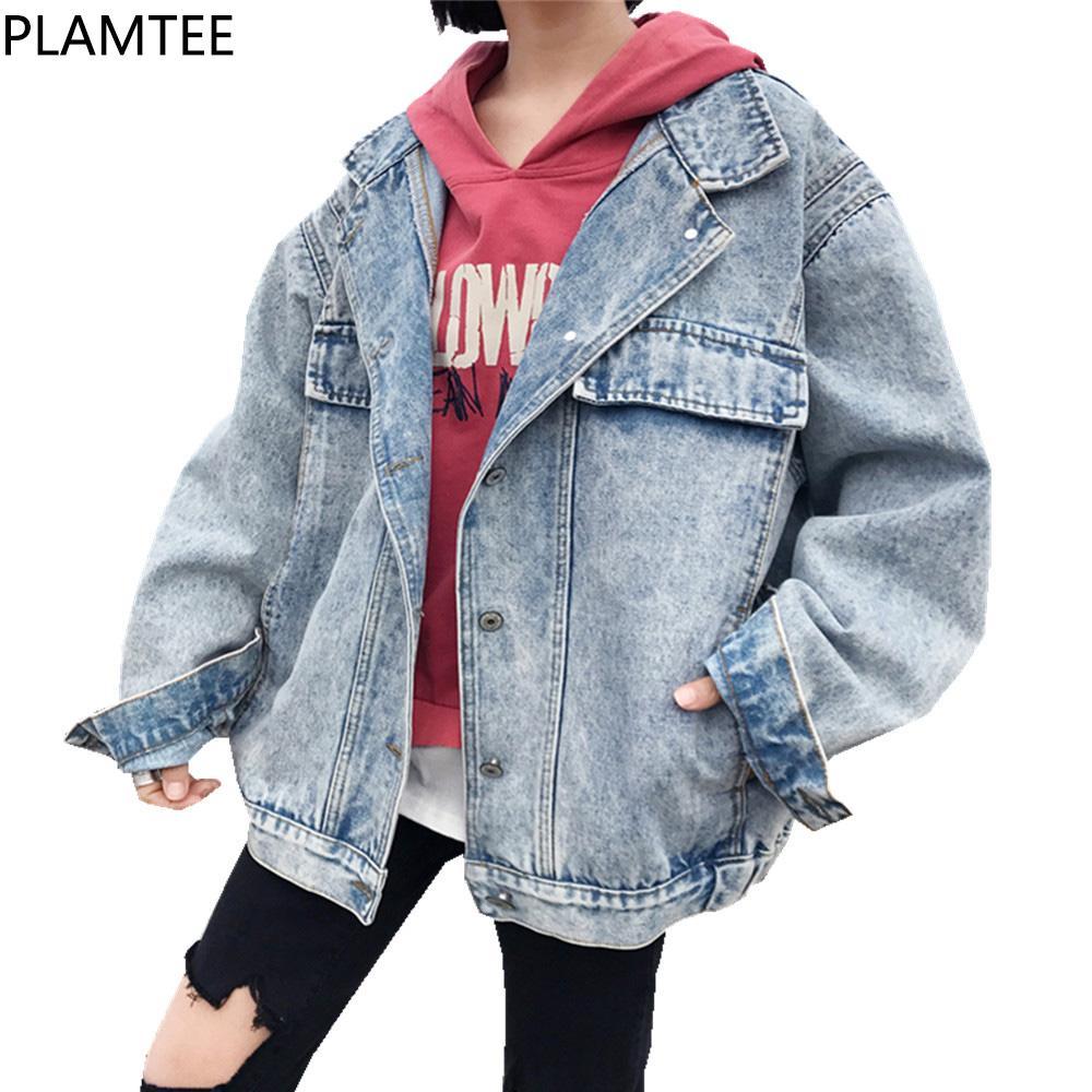 3c447461fb13b PLAMTEE Loose Korean Harajuku Denim Jacket Women 2018 Spring All ...